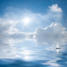 Clouds and sun reflection in water ❤ liked on Polyvore featuring backgrounds