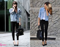 how to wear leggings with high heels and denim jacket