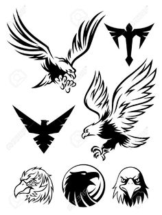 Illustration about Eagle logos and symbols for designer. Illustration of silhouette, flying, symbol - 21026849 Phoenix Tattoo Design, Skull Tattoo Design, Tribal Tattoo Designs, Phoenix Tattoos, Eagle Images, Eagle Pictures, Eagle Drawing, Brust Tattoo, Eagle Vector