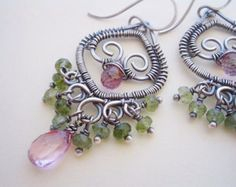 Olivia Earrings---Pink Topaz and Green Tourmaline Wire Wrapped Chandelier Earrings