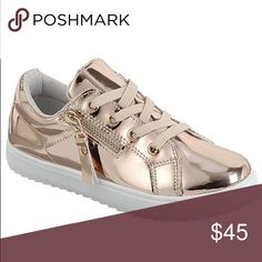 Rose Gold Sneakers These are to absolutely amazing! Comfortable and stylish slip on rose gold sneakers with zip up the side. Must have statement piece. Shoes are true to size. (More pictures to come) Shoes Sneakers