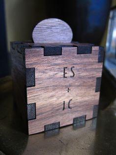 "Custom walnut wood ring box, 1.5"" square, velvet lining for ring. Initials engraved."