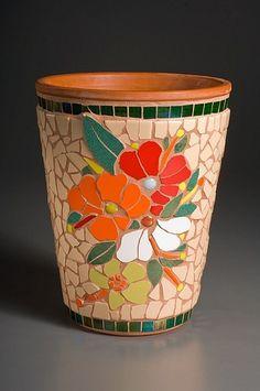 Hibiscus Pot SOLD Mosaic Planters, Mosaic Garden Art, Mosaic Vase, Mosaic Flower Pots, Mosaic Diy, Mosaic Crafts, Mosaic Projects, Mosaic Tiles, Mosaics