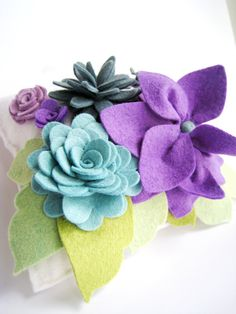 Wedding Ring Pillow Wool Felt Flowers  Purple Teal or colors of your choice..