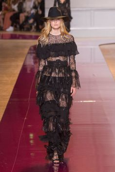 Lace and ruffles seen at Zuhair Murad's Fall 2016 Couture Show.