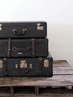 Black Leather Luggage // Antique Leather Suitcase by