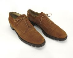 Saks Fifth Avenue Oxford 9 Mens Shoes Narrow Brown Textured Suede Italy  Vintage
