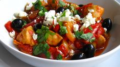 A Glug of Oil: Greek-Inspired Chicken with Peppers and Feta Chicken Breast Fillet, Spicy Tomato Sauce, Chicken Stuffed Peppers, Tasty Bites, Greek Salad, Recipes From Heaven, Greek Recipes, Casserole Dishes
