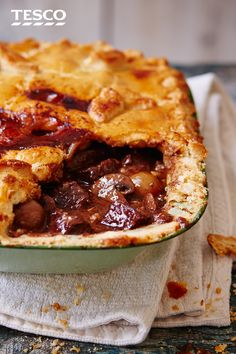 This recipe turns a classic French beef stew into a delicious pie, complete with golden pastry top. With a rich combination of succulent braised beef, chestnut mushrooms and red wine sauce, this pie is perfect for a weekend feast. Beef Bourguignon, Meat Recipes, Cooking Recipes, Curry Recipes, Beef Stew Recipes, Recipies, Beef Pies, Tesco Real Food, Braised Beef
