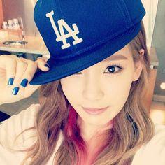 SNSD Taeyeon selca with LA cap.