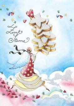 Nina Chen*Weihnachtskarte*Engel*Zimtsterne*Rezept*Glitzer*Grußkarte*Weihnachten in Möbel & Wohnen, Feste & Besondere Anlässe, Karten & Schreibwaren | eBay