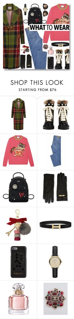 """""""What to wear"""" by alexa-girl2 ❤ liked on Polyvore featuring Gucci, Kate Spade, Moschino, Ladurée, Bottega Veneta, Burberry, Guerlain and Chanel"""