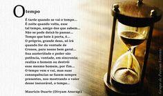 """Poema """"O tempo"""" de minha autoria na arte de Denise Ávila do Grupo Vertente."""