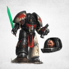 Warhammer Dark Angels, Dark Angels 40k, Warhammer 40k Art, Warhammer Fantasy, Fantasy Armor, Angel Of Death, Angel Art, Space Marine, Dieselpunk
