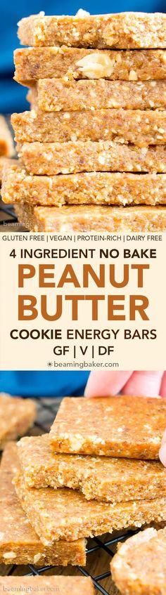 4 Ingredient No Bake Peanut Butter Cookie Energy Bars (V, GF, DF): an easy recipe for simple salty 'n sweet energy bars that taste like PB cookies! Paleo Dessert, Best Dessert Recipes, Sweet Recipes, Whole Food Recipes, Snack Recipes, Desert Recipes, Dessert Bars, Vegan Sweets, Healthy Desserts
