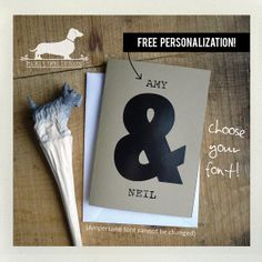 Ampersand. Personalized Note Card  Valentine by PickleDogDesign, $5.00