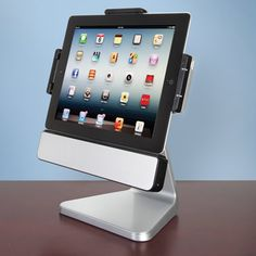 This is the iPad speaker stand that rotates 360° and tilts 30° front to back for the ideal orientation whether watching a movie or browsing the web. The dock includes two oval 2.5-watt speakers with a class D amplifier and a passive radiator that deliver clear, room-filling sound.