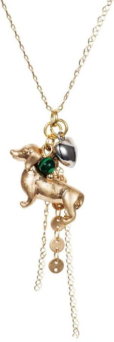 Nadia Minkoff - Dachshund Charm Necklace Gold with Malachite