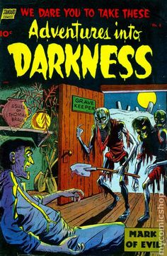 Really like that logo and the coloring.  ADVENTURES INTO DARKNESS 8, GOLDEN AGE COMIC