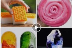 Colorful DIY soap creations that are so easy to make. 5 Min Crafts, 5 Minute Crafts Videos, Diy Crafts Hacks, Craft Videos, Diy Crafts To Sell, Diy Projects, Handmade Soap Recipes, Handmade Soaps, Diy Soap Video