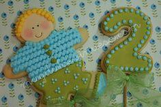 Cookie y cookie pop para cumpleaños.