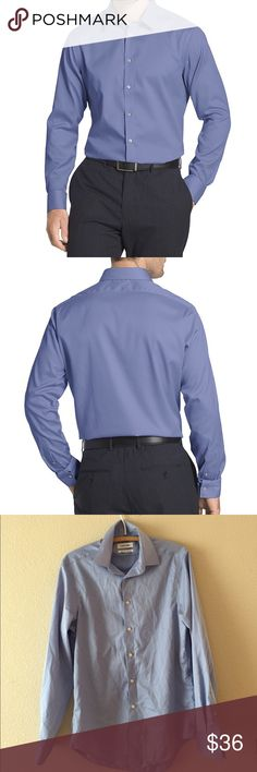 Men's Non Iron Slim Fit Dress Shirt Non-iron, slim fit, dress shirt with a subtle sheen. Very light white stripes on shirt. First and second picture only to show fit NOT the actual color of shirt. Men's US Size 14 1/2 or 32/33. 100% Cotton. Calvin Klein Shirts Dress Shirts