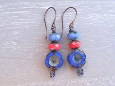 Cornflower Blue Earrings, Burnt Orange Earrings, Floral Earrings, Flower…