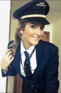 Etihad Pilot In Formal Work Uniform Pilot Uniform, Airline Pilot, Female Pilot, Air India, Work Uniforms, Beautiful Bollywood Actress, Cabin Crew, Flight Attendant, Sexy Hot Girls