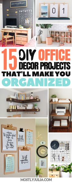 Organization DIY projects to make your small home office or study desk and space more organized and that'll make you more productive. #DIY #office #officedecor #homeoffice #diyproject #diyprojects #desk #organization #productivity #work #workfromhome #workonline #organization