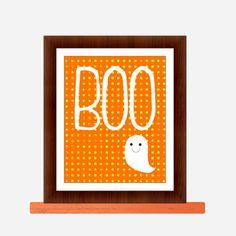BOO ghost Halloween print- Halloween decor, Halloween art, Halloween Ghost. $12.00, via Etsy.