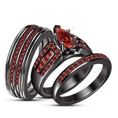 2.25 CT Marquise Cut Garnet 14K Black Gold FN 925 Silver Wedding Trio Ring Set #aonejewels
