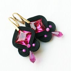 Pink and black by MoniqJewelry on Etsy