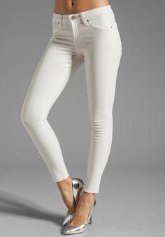 SPORTY PREP: Dakota Collective Khloe Skinny in Iridescent Coated White
