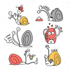 Set cute snails doodle handmade by @Graphicsauthor