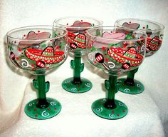 Items similar to Margarita Glasses Sombreros & Maracas Hand Painted Set of 2 - 16 oz. Cinco De Mayo Mexican Wedding Party Mexican Hats Personalized on Etsy Decorated Wine Glasses, Hand Painted Wine Glasses, Decorated Bottles, Kitchen Ornaments, Floral Vintage, Margarita Glasses, Paint Set, Glass Design, Glass Art