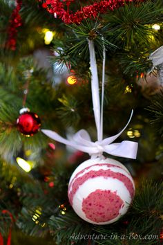 DIY Bath Bomb Christmas Ornaments with Surprise Inside - a fun Christmas craft and DIY gift idea!