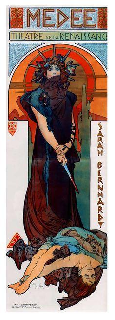 "Alfons Mucha - Actress Sarah Bernhardt - poster ""Medea"" stage play(1898)"