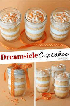 For a delicious summer treat, you've got to try these Orange Dreamsicle Cupcakes layered with orange cream cheese frosting and marshmallow fluff! Mason Jar Cupcakes, Mason Jar Desserts, Mason Jar Meals, Mini Desserts, Summer Desserts, Just Desserts, Delicious Desserts, Dessert Recipes, Cupcake Jar