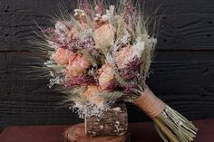 Romantic Rustic Wedding Bouquet Medium by SmokyMtnWoodcrafts