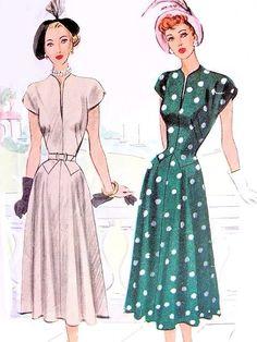 ff7280f4d90 1940s FLATTERING Dress Pattern McCALL 7204 Beautiful Shaped Slit Neckline