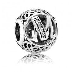 Pandora Silver Cubic Zirconia Vintage M Swirl Charm 791857CZ