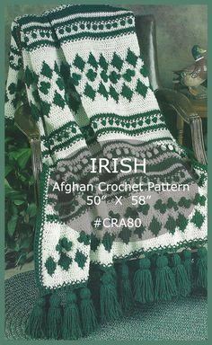 df7539d976b4c2 IRISH Afghan Crochet Pattern Clover And Diamonds Irish Afghan Crochet  Pattern With Tassels Afghan To Crochet
