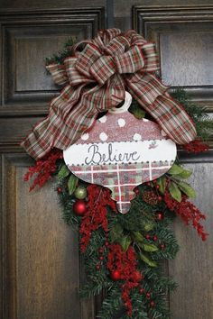 Believe Christmas swag by theembellishedhome on Etsy, $65.00