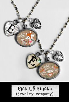 What does the fox say? Shown here with a Bubble Hear Initial, build your own custom necklace here... http://shop.pickupsticks.net/product-p/at006.htm http://shop.pickupsticks.net/category-s/94.htm
