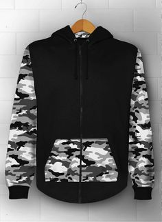 Tops & Blouses – Army Hoodie Jacket, Hoodie, Jacket Hoodie – a unique product by XIIISameOnly on DaWanda