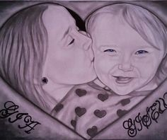 Graphite drawing of my daughter and her sister.