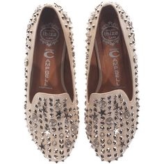 Jeffrey Campbell Elegant Stud Tan Studed Loafers ($220) ❤ liked on Polyvore