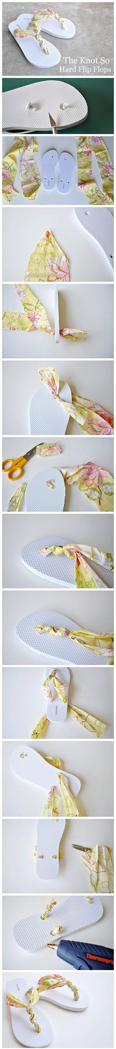 Don't know what to do with your broken flip flops?  Make new straps out of a fabric