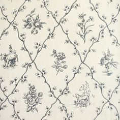 wallpaper pattern, vintage style, old, floral, dog, cow, country, interiors, decor, fabric