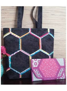 """Honeycomb Handbag Pattern. A fun technique with a modern look! Cover hexagon foundations, then assemble for an on-trend handbag! Made even easier with the help of the Hexagon Template (below), and Hexagon Foundation Pieces (coming soon).Clutch: 9 1/2"""" x 5 1/2""""Tote: 16"""" x 14"""" x 4"""""""